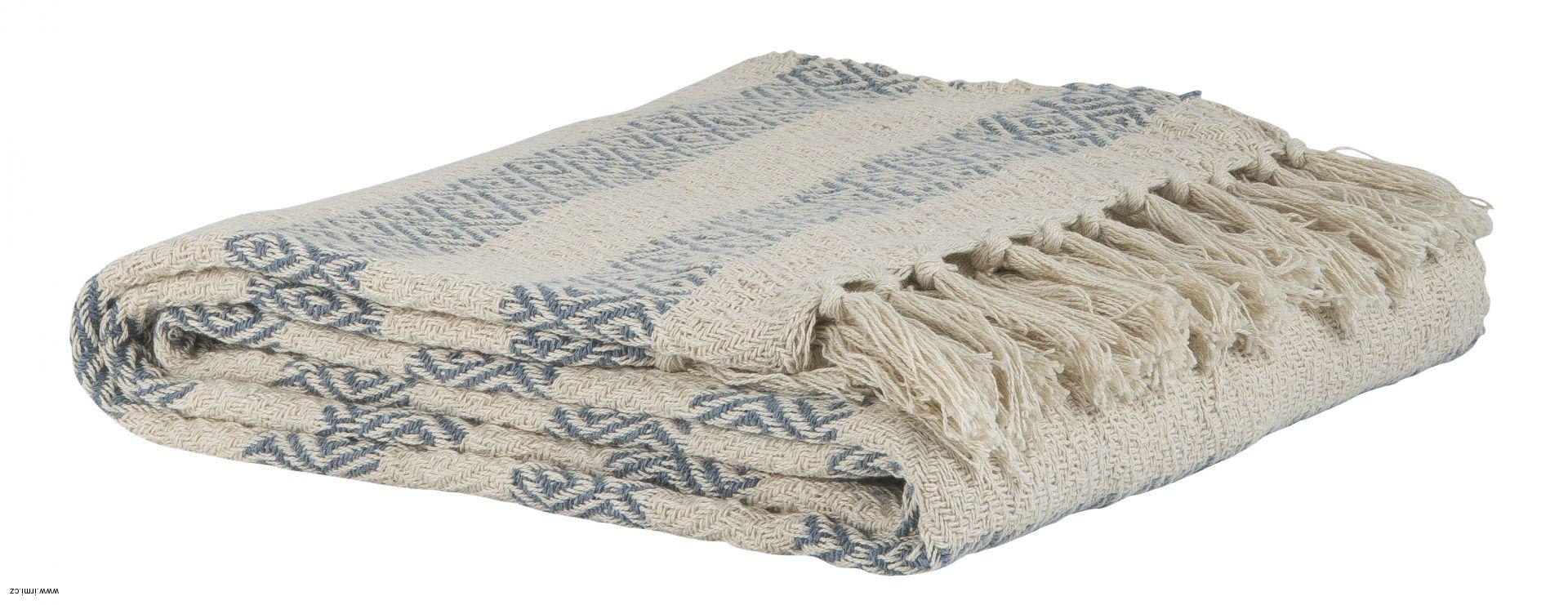 Bavlněný pléd Cream blue stripe 130x160  de15d63555